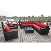 Bellini Pasadina Conversation Sectional 8 Piece Deep Seating Group with Cushions; Red