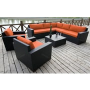 Bellini Pasadina Conversation Sectional 8 Piece Deep Seating Group with Cushions; Orange