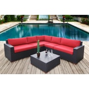 Bellini Pasadina Conversation Sectional 6 Piece Deep Seating Group with Cushions; Red