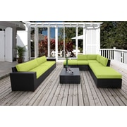 Bellini Pasadina Conversation Sectional 8 Piece Deep Seating Group with Cushions; Green