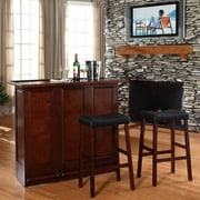 Crosley Bar Set with Wine Storage; Vintage Mahogany