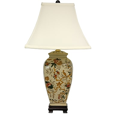 Oriental Furniture Autumn Birds and Flowers Vase 25'' Table Lamp
