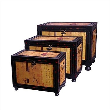 Oriental Furniture Raging Stallions Oriental Storage Box (Set of 3)