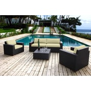 Bellini Pasadina 5 Piece Deep Seating Group with Cushions; Ivory
