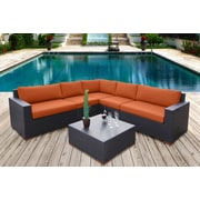 Bellini Pasadina Conversation Sectional 6 Piece Deep Seating Group with Cushions; Orange