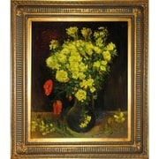 Tori Home Vase with Viscaria (Poppy Flowers) by Van Gogh Framed Hand Painted Oil on Canvas