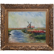Tori Home Tulip Field in Holland by Monet Framed Hand Painted Oil on Canvas