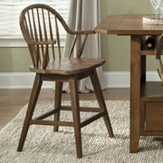 Liberty Furniture Hearthstone 24'' Swivel Bar Stool; Rustic Oak