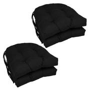 Blazing Needles Dining Chair Cushion (Set of 4); Black