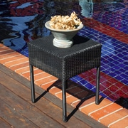 Home Loft Concepts Anchorage Wicker Outdoor Accent Table; Black