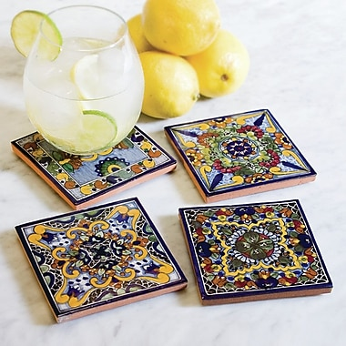 Native Trails Moroccan Midnight Hand Painted Tile Coasters (Set of 4)