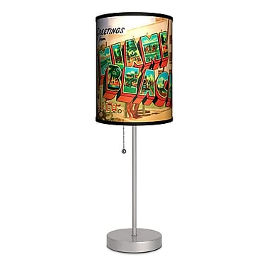Lamp-In-A-Box Travel Miami Beach Postcard 20'' Table Lamp