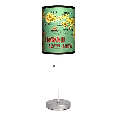 Lamp-In-A-Box Travel Hawaii 50th State Map 20'' Table Lamp