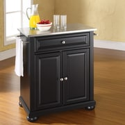 Crosley Alexandria Kitchen Island with Stainless Steel Top; Black