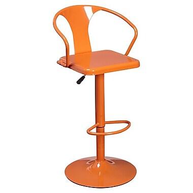 TMS Miraval Adjustable Height Swivel Bar Stool; Orange