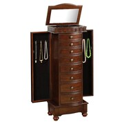 Wildon Home   Murphy Jewelry Armoire with Mirror; Coffee Brown