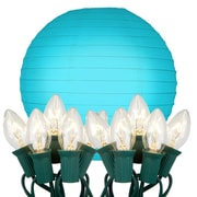 Luminarias 10 Light String Light with Round Paper Lantern; Turquoise