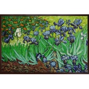 Tori Home Irises by Van Gogh Framed Hand Painted Oil on Canvas