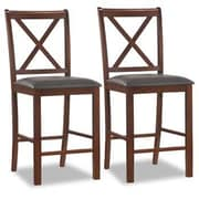 Leick Crossback 25'' Bar Stool with Cushion (Set of 2)