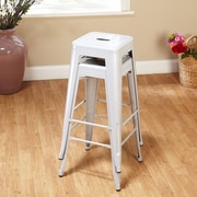 TMS Avalon 30'' Bar Stool (Set of 2); Silver