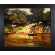 Tori Home Boating in Central Park by Potthast Framed Hand Painted Oil on Canvas