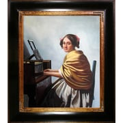 Tori Home Young Woman Seated at the Verginals by Vermeer Framed Hand Painted Oil on Canvas