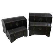 International Caravan Seville Faux Leather Indoor Storage Trunks (Set of 4); Dark Chocolate