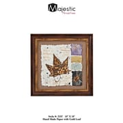 Majestic Mirror Framed Brown And Gold Leaf On Hand Painted Paper Abstract Wall Art - Style One