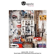 Majestic Mirror Urban New York City Square Wood and Metal Painting Wall Art