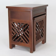 Wayborn Lattic 2 Piece Nesting Tables; Brown
