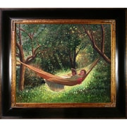 Tori Home Girl in a Hammock by Winslow Homer Framed Hand Painted Oil on Canvas
