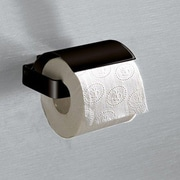 Gedy by Nameeks Lounge Wall Mounted Toilet Paper Holder with Cover; Matte Black