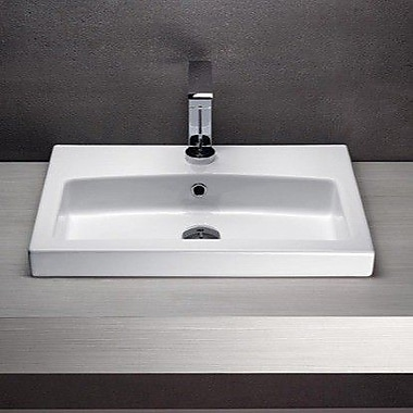 GSI Collection Losagna Rectangular Ceramic Wall Mounted or Self Rimming Bathroom Sink w/ Overflow
