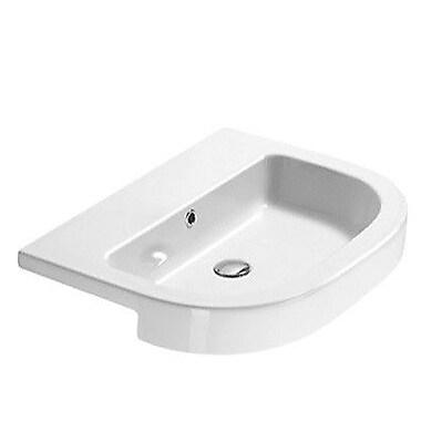 GSI Collection Traccia 25.6'' Curved Ceramic Semi-Recessed Bathroom Sink; Single Hole