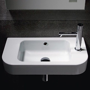 GSI Collection Traccia 21.7'' Curved Ceramic Wall Mounted Bathroom Sink w/ Overflow
