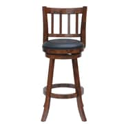 Boraam Bloomington 24'' Swivel Bar Stool with Cushion; Walnut