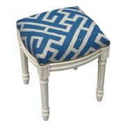 123 Creations Graphic Lattice Linen Upholstered Vanity Stool; Navy