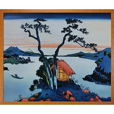 Tori Home Lake Suwa in the Shinano Province by Katsushika Hokusai Framed Painting Print