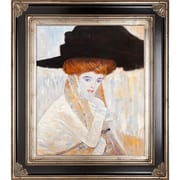 Tori Home Black Feather Hat by Klimt Framed Hand Painted Oil on Canvas
