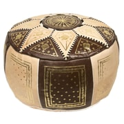 Casablanca Market Moroccan Marrakech Pouf Leather Ottoman; Brown