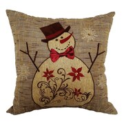 Xia Home Fashions Snowman Embroidered Throw Pillow