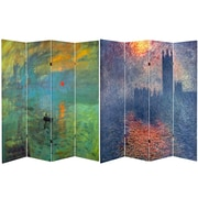 Oriental Furniture 71'' x 63'' Tall Impression Sunrise / Houses 4 Panel Room Divider