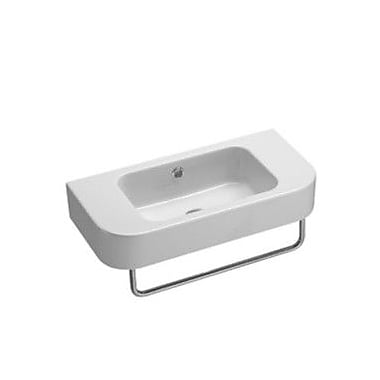 GSI Collection Traccia 21.7'' Curved Ceramic Wall Mounted Bathroom Sink w/ Overflow; No Hole