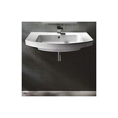 GSI Collection Modo 31.5'' Curved Ceramic Wall Mounted or Vessel Bathroom Sink w/ Overflow