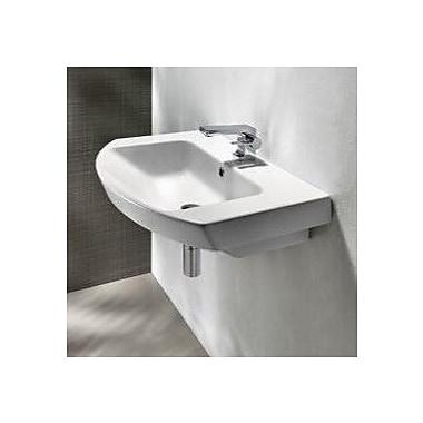 GSI Collection Modo 25.6'' Curved Ceramic Wall Mounted Bathroom Sink w/ Overflow; Single Hole