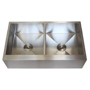 eModern Decor Ariel 36'' x 21'' Stainless Steel 50/50 Double Bowl Farmhouse Kitchen Sink