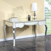 Elegant Lighting Camille Writing Desk with Drawers; Silver