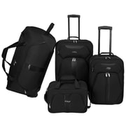 U.S. Traveler 4 Piece Luggage Set; Black