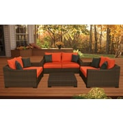 International Home Miami Kingston 4 Piece Deep Seating Group with Cushions; Orange