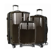 J World Concord 3 Piece Polycarbonate Expandable Spinner Luggage Set; Brown